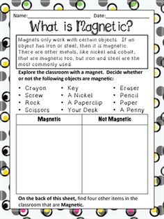 Students explore a variety of objects in the classroom to determine whether or not it is magnetic.