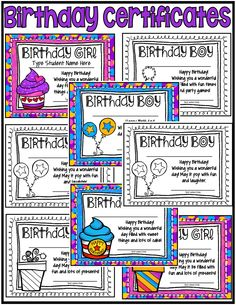 Colorful Birthday Certificates for the Birthday Girl and the Birthday Boy. Type name right onto award! ($)