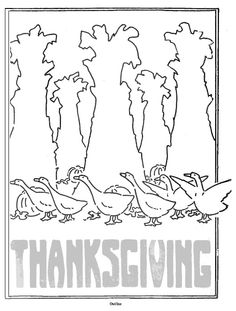 vintage thanksgiving geese in the corn shocks poster to colour