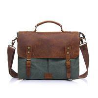 Nuevo 2014 para hombres mujeres Vintage lienzo de piel del hombro del bolso Messenger maletines