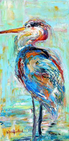 Blue Heron painting original oil abstract palette by Karensfineart