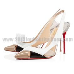 White 100mm Air Chance Slingbacks Patent Leather/PVC Women Christian Louboutin CL0756
