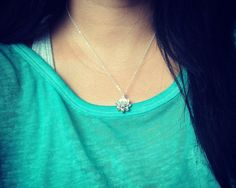 Silver Lotus Flower NecklaceSimple Everyday by RHjewels on Etsy
