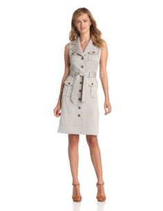 Anne Klein Women's A-line Safari Dress, Cocoa, 10