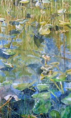 Painting lily pads with watercolor, step by step painting tutorial