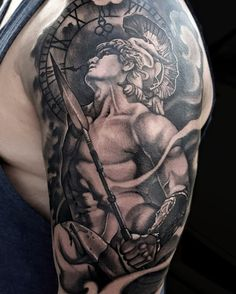 Greek warrior god sleeve tattoo by Tony Davis @ Soular Tattoo