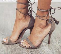 Description: Ankle Strap Fringe heel. Please see size chart