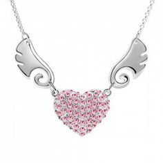 Chic Rhinestoned Wing Decorated Heart Pendant Necklace For Women