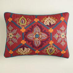 Red and Blue Embroidered Desert Lumbar Pillow from Cost Plus World Market's New Desert Caravan Collection >> #WorldMarket Home Decor Ideas