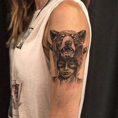 ayı ve kız kadın omuz dövmeleri bear and girl woman shoulder tattoos