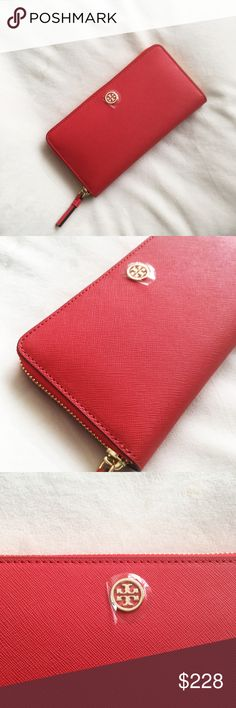 cd74a08785f6 Tory Burch Zip Continental Robinson Wallet brand new with tags details   Saffiano leather Zip around