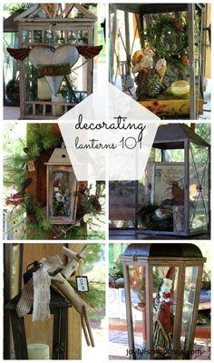 Lantern Love ~ Tons of inspiration for decorating lanterns for the holidays. Large Lanterns, Lanterns Decor, Candle Lanterns, Decorating With Lanterns, Decorative Lanterns, Hurricane Lanterns, Decorating Ideas, Christmas Lanterns, Christmas Crafts