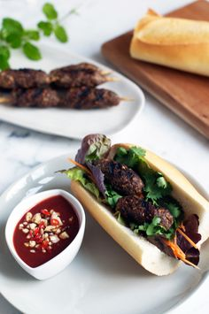 A delicious recipe for Chargrilled Lemongrass Beef with Hoisin Dipping Sauce, a classic Vietnamese street-food dish.
