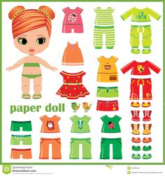 Illustration about Paper doll with clothes set. Illustration of green, pretty, clothing - 31903441 Paper Toys, Paper Crafts, Adobe Illustrator, Paper Dolls Clothing, Diy Quiet Books, Image Paper, Paper Dolls Printable, Craft Projects For Kids, All Paper