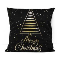 Poszewka Gold Christas Tree 45x45 cm Merry Christmas, Throw Pillows, Deco, Gold, Merry Little Christmas, Toss Pillows, Cushions, Merry Christmas Love, Deko