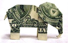 dollar origami elephant. **made an elephant and a giraffe for my son once %u2013 actually it was from the tooth fairy :) ** Origami Dragon, Origami Fish, Origami Stars, Heart Origami, Folding Money, Origami Folding, Paper Folding, Dollar Bill Origami, Money Origami