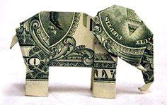 elephants, craft, animals, elephant art, folding money for gifts, cash gifts, fold money for gifts, dollar origami, origami eleph