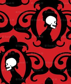 Flourish Black with Red and White detail custom fabric by thirdhalfstudios for sale on Spoonflower Word Patterns, Fabric Patterns, Black And White Fabric, Red And White, Dark Red, Halloween Cards, Halloween Decorations, Conversational Prints, Pink Skull
