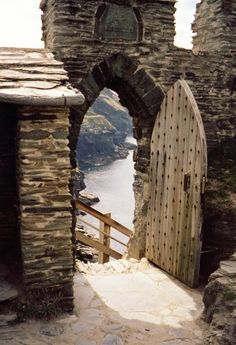 Stairway to the sea, Tintagel castle, Cornwall, England.13th c