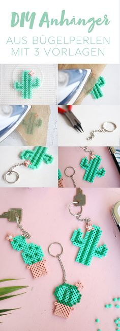 {DIY Challenge Perlen & Metall} Kaktus-Schlüsselanhänger mit Bügelperlen Creative DIY idea for crafting from beaded beads: cute key chains made from Hama beads Beaded Beads, Beaded Bracelet Patterns, Beading Patterns, Pearler Beads, Fuse Beads, Diy For Kids, Crafts For Kids, Iron Beads, Last Minute Gifts