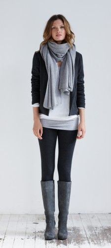 This outfit with white/black two-toned tank, dark gray roll-sleeve sweater, black tights, gray scarf and boots or grey tights/black boots
