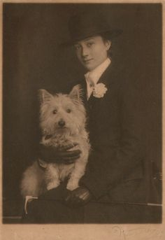 The Misses Selby  Woman with her West Highland White Terrier  1900-1905. Looks like Harlow before her haircut.