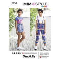 ee3b082c7dd70 Simplicity Pattern 8354 Girls   amp  Girls Plus Overall  amp  Cropped Knit  Tee by
