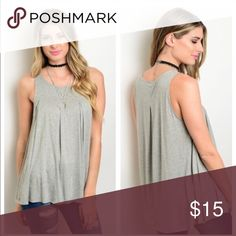 SMALL GRAY SLEEVELESS TOP WITH PLEATED FRONT SMALL GRAY SLEEVELESS TOP WITH PLEATED FRONT, these tops are so comfy, dress them up or down, fit loose and flowy, 95% modal 5% spandex, true to fit but loose, looks great with jeans, shorts and leggings  Tops Tank Tops