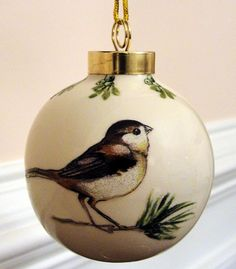 ♥♥ ☆ PORCELAIN BALL ORNAMENT This little bird is such a reminder of my childhood when we put out food for the chickadees in winter. ☆ Merry Christmas!!!