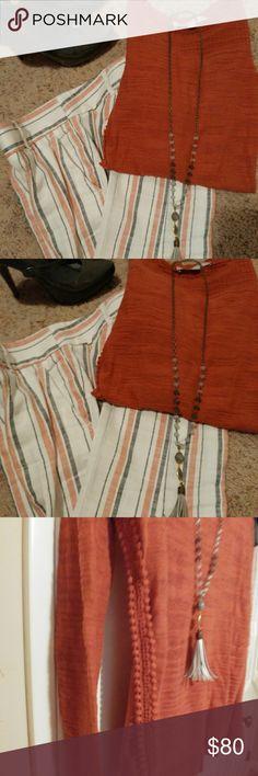 Shirt, pants, shoes, necklace combo Shoes size 6 1/2 Grey leather, pants size 0 linen grey & burnt orange ankle length, shirt long sleeved polyester, nylon & cotton LOFT Other