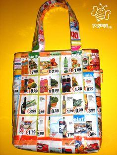 Borsa intrecci di carta, shopper con volantini pubblicitari #soreadystyle #riciclo #pvc #bag #banner #flyers - di So.Ready Lab - soreadylab.etsy.com