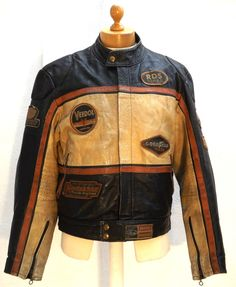 Vintage Redskins'Indy 500' Buffalo Leather Motor Racing Jacket With Patches-XL