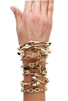 Gold arm party.
