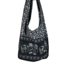 Hippie Elephant Sling Crossbody Bag Shoulder Bag Purse Thai Top Zip Handmade New Color Black. Hippie Sling Crossbody Bag Purse. Carefree and comfortable 100% cotton. smaller version of our classic cross-body bag or use like a shoulder bag. a zippered inside pocket. The pattern reflects an elephant floral print.
