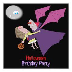 Vampire Birthday Invitations Funny Vampire Halloween Birthday Party Invitations