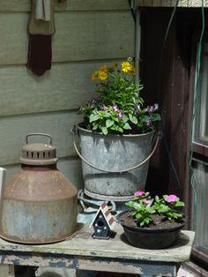 rustic galvanized container garden
