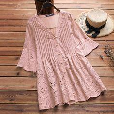 Women Cotton Linen Blouse Elegant Embroidery Hollow Blusas V-Neck Button Shirts Top Plus Size Kurta Designs, Blouse Designs, Cheap Blouses, Blouses For Women, Women's Blouses, Women Tunic, Look Fashion, Fashion Outfits, Latest Fashion