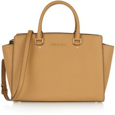 MICHAEL Michael Kors Selma large textured-leather tote ($360) ❤ liked on Polyvore featuring bags, handbags, tote bags, sac, brown, brown tote, zip tote, brown handbags, beige handbags and beige purse
