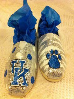 Silver sparkly & blue University of Kentucky by Shoebeedoobeedoo, $50.00