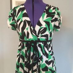 Green Black & White Patterned Dress Look smart in this B. Smart empire waist dress! No time to iron? No problem! Perfect for a lady always on the run; made from a wrinkle free poly/spandex blend! B. Smart Dresses Midi