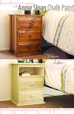 Pretty Pink Peony: My first ever furniture revamp. Annie Sloan Chalk paint in old white and versailles Chalk Paint Projects, Chalk Paint Furniture, Furniture Projects, Furniture Making, Home Projects, Diy Furniture, Refurbished Furniture, Repurposed Furniture, Furniture Makeover