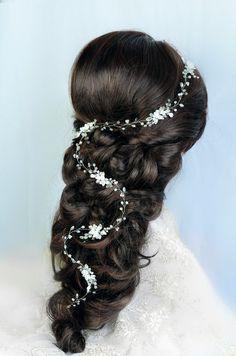 bridal hair vine, wedding hair vine, flower hair vine by TopGracia