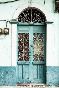Door of an old building at Casco Antiguo. Panama City, Panama.