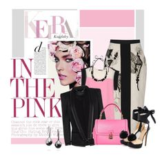 Pink is a girl's best friend by amateurfashionista on Polyvore featuring polyvore, fashion, style, COSTUME NATIONAL, Barbara Bui, Antonio Marras, Charlotte Olympia, Dolce&Gabbana, Fernando Jorge, Marni, clothing, top handle bags, color blocking, platform heels and mid-calf skirts