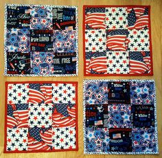 HANDMADE PATRIOTIC REVERSIBLE QUILTED SQUARE PLACEMATS OR POT HOLDERS (HOT PADS) | Crafts, Handcrafted & Finished Pieces, Home Décor & Accents | eBay!
