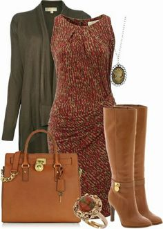 Cheap Michael Kors Bags Fall 2014. I like all of these colors for fall, especially the boots matching the bag! I like the dress with prints and that it looks like it would be flattering