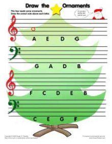 Draw the ornament note name worksheet...many more seasonal worksheets on this site