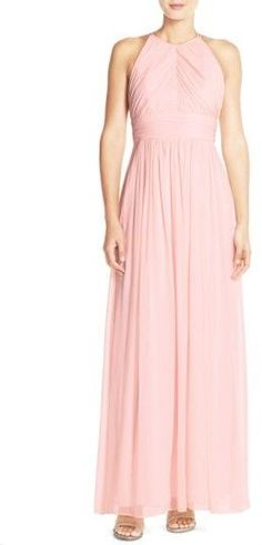Dessy Collection Women's Ruched Chiffon Open Back Halter Gown