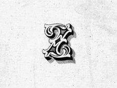 Letter Z by Steve Wolf (Dallas, Texas) Vintage Typography, Typography Letters, Typography Poster, Graphic Design Typography, Lettering Design, Hand Lettering, Steve Wolf, Z Tattoo, Zeina