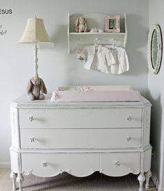 Magnificent dresser changing table in Nursery Shabby chic with Attic next to Baby Room alongside Pictures Of French Country Decorating and Brown Couch Gray Walls Vintage Nursery Decor, Chic Nursery, Nursery Neutral, Baby Room Decor, Girl Nursery, Girl Room, Nursery Dresser, Bunny Nursery, Antique Nursery